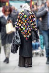 Cloak Of Many Colours (Mabacam) Tags: 2017 london shoreditch woman shawl crochet colours city street streetscene candid