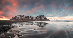 If you see my Reflection in the Snow Covered Hills... (Jerry Fryer) Tags: iceland arctic vestrahorn batmanmountain reflections snowcoveredhills blacksand beach coast seascape sunset twilight clouds pink waves sea canon 5dsr ef1635mmf4l leefilters volcanicsand panorama