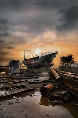 on the deck (dim.pagiantzas | photography) Tags: deck ships shipyard ship wood wooden metal repair reflections water sea seascape seaside sky clouds cloudy atmospheric sunset colors colorfull yellow orange rust textures trees