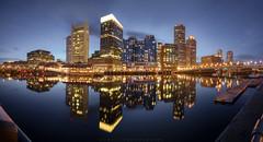 Beantown Blues (Rookie Romit) Tags: boston newengland massachusetts panorama nightphotography cityscapes nightscape water city lights reflection travel longexposure