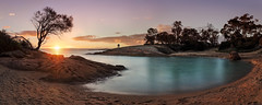 Honeymoon bay (beaugraph) Tags: freycinet nationalpark beach rocks colesbay honeymoon sunset cove tree tasmania australia panorama pano panoramic