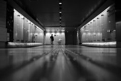 Telephone (maekke) Tags: kanazawa japan underground reflection urban woman pointofview pov fujifilm x100t noiretblanc bw symmetry architecture 2017 travelling streetphotography 35mm tunnel