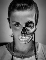 Death's face (Ekaterina Toseva) Tags: nightmare girl definition soul contrast depthoffield experimental photoshop edited manipulation face portrait emotion close nikon d7000 50mm 18 manipulated skull bones half eye broken monochrome blackandwhite lightroom dark death creepy mysterious horror