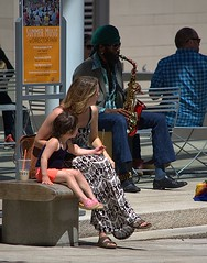 Music Lovers Listen (swong95765) Tags: mother daughter woman female girl saxaphone music city sax