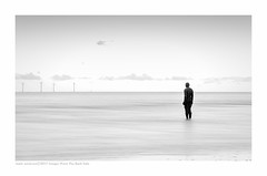 Watching (Images from the Dark Side) Tags: crosby beach artwork statue windfarm anotherplace le longexposure