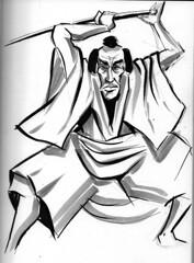 Samurai (simeon genew) Tags: brushpen grayscale samurai japan sword katana sketch sketchbook