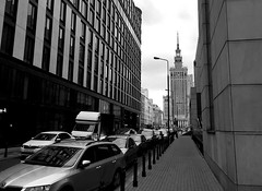 Perspective of the Palace of Culture and Science (roomman) Tags: 2017 warsaw warszawa poland polska palace culture science nauki kultury palac pkin street streets art streetview veiw car park parking side sidestreet house houses facade old bw black white blackandwhite bandw contrast monochrome style design
