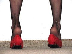 red ballet flats, black nylons, tattoos, anklet - close up pics (Isabelle.Sandrine1999) Tags: redballetflats leather shoes pumps ballet flats ballerinas sabrinas shoeplay dangling toes nylons stockings tattoo anklet