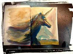 Un chisco de maxia (vida libraria) Tags: unicorn sketchbook onhorseback acrilyc