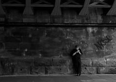 Smoke Break (Andy Moshy Taylor) Tags: england people urban blackandwhite monochrome newcastle bridges northeast urbanphotography tyneandwear