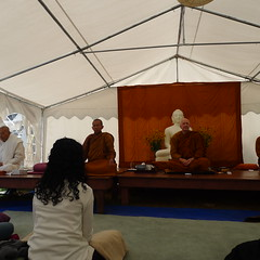 The bhikkhus meditate during Tisarana's annual non-residential retreat