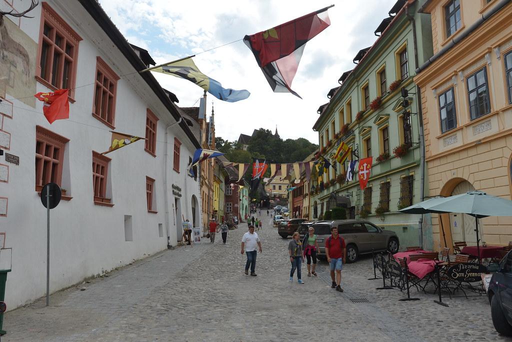 Flags flying in Sighișoara