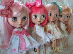 IMG_2035...My pink girls.  Blossom, Amor, Heaven, and Zuzu .  All so pretty in their new dresses and bows.