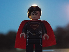 Superman infront of a Super moon (Paranoid from suffolk) Tags: evening lego somerset superman minifig minifigure 2014 supermoon