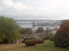 Falmouth Cornwall UK (occama) Tags: uk autumn misty docks cornwall view cloudy harbour britain september roads hazy falmouth carrick 2014
