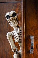 skeleton in the cupboard 01 HD oct 14 (Shaun the grime lover) Tags: door closet skeleton handle skull wooden carved furniture bones bone cupboard hdr bony