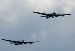 Lancasters (Bernie Condon) Tags: classic plane vintage flying display aircraft aviation military pair canadian airshow planes lancaster ww2 british preserved bomber raf warplane dunsfold avro rcaf lancasters bbmf bombercommand cwhm
