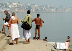india 2008 (gerben more) Tags: city shirtless people india men river religion steps towel holy laundry varanasi hinduism washing ganga ganges ghats cityview benares ghat