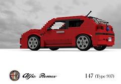 Alfa Romeo 147 3Dr Hatch (Type 937) (lego911) Tags: auto birthday italy car sport model italian 2000 lego fiat render alfa romeo hatch 7th 147 challenge compact cad 76 povray 84 moc ldd vivaitalia miniland 937 3door 3dr lego911 lugnts lugnutsturns7or49indogyears