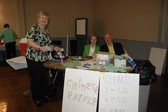 Kathleen Ryan, Peggy Murray and Charlie Martin at the Raffle Table
