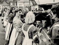 Pretty maids all in a row (pootlepod) Tags: street ladies blackandwhite monochrome standing photography women waiting uniform dancers row morris dressed maids girld stphotographia