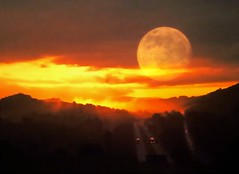 My Way Home (2bmolar) Tags: sunset moon 1975 fujica st801 layerbyme sliderssunday exifdataallwrong route78pa