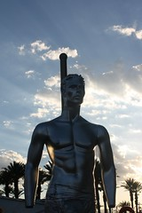 Galvanized (Flint Foto Factory) Tags: city las vegas blue summer sky urban sun male fall mannequin night clouds silver evening downtown dusk nevada sunday september late rays form physical physique galvanized 2014 lasvegasblvd slasvegasblvd