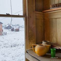 Tableware and Snow (stephencurtin) Tags: california park orange green window buildings cord gold town state ghost brush mining historical bodie preserved dust paneling thechallengefactory