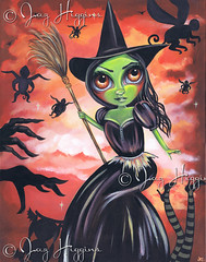 """Wicked Witch of the West"" Painting by Jaz Higgins (Jaz Higgins) Tags: orange black cute green eye art halloween girl illustration painting book big eyes whimsy artist witch surrealism jasmine gothic goth australian surreal creepy spooky story fantasy wicked eyed etsy higgins wizardofoz jaz whimsical broomstick lowbrow ofthewest popsurrealist elphabathropp"