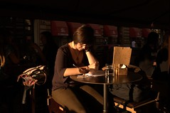 Zagreb (braco.vukelic) Tags: street shadow woman coffee shop writing reading photo warm croatia sunny zagreb studying