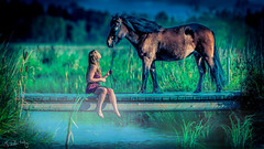 At the bridge... ( EdGuY ) Tags: bridge summer horse mist lake girl beautiful women with ii vr 200mm f20 islandic