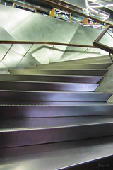 Soft Muted Colours (Jocey K) Tags: madrid lighting building reflections spain stainlesssteel shadows ceiling staircase railing caixaforum archtiecture industrialarchitecture caixaforummuseummadrid