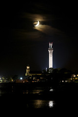 Crescent moon over Provincetown