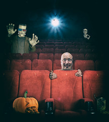 Frightful Flicks (Caroline '77) Tags: show light red cinema film halloween photomanipulation photoshop dark movie scary chair theater audience theatre projector interior seat performance indoor row velvet plush indoors entertainment numbers seats hollywood horror classical monsters showtime premiere drama auditorium happyhalloween upholstery