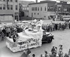Heaven Help the Bunnies parade float, 1956. (NDSU University Archives) Tags: homecoming floats northdakotastateuniversity