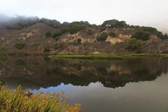 San Luis Obispo Creek (CaptSpaulding) Tags: california bridge reflection nature water fog clouds contrast canon landscape centralcoast avilabeach 6d sanluisobispocreek
