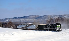 Approaching a curve upgrade (Michael Berry Railfan) Tags: sociétéduchemindeferdelagaspésie train freighttrain windmilltrain unittrain gaspe gaspesie mlw alco montreallocomotiveworks rs18 sfg1819 sfg