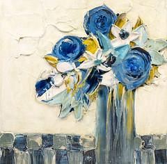 JUSTIN GAFFREY-SL24X24-2017-004 (Justin Gaffrey) Tags: florals stilllife multipleflowers flowers vase study art painting blue blueflowers artist 30aartist justingaffrey artcollector 30a sowal florida floridaartist floridaart