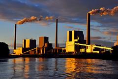 Sunset lights on Factory smoke pipes , taken from Rhine river (natureloving) Tags: facotrysmokepipesindustrial plantrhine river sunset nature natureloving nikon d90