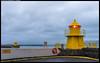 Harbour lighthouses near Harpan concert house in Reykjavik (oymehus) Tags: fyrlykt gul innseiling reykjavík capitalregion iceland