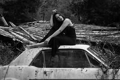 Rooted (SydneyJanelle) Tags: nature forest forester trees tree water lake stream river sea ocean green growth redwoods redwood model alternative goth gothic girl black white dark vintage car cars broken rust dirt