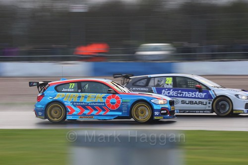 Andrew Jordan and James Cole in race three at the British Touring Car Championship 2017 at Donington Park