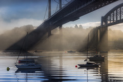 Let there be light (snowyturner) Tags: tamar cornwall plymouth bridges mist fog estuary water light morning boats
