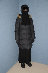 Warm Coat (Buses,Trains and Fetish) Tags: slave girl warm hot winter sweat torture coat anorak niqab hijab burka chador boots fur