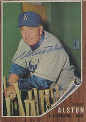 1962 Topps - Walter Alston #217 (Manager) (Hall of Fame 1983) (b. 1 Dec 1911 - d. 1 Oct 1984 at age 72) - Autographed Baseball Card (Los Angeles Dodgers) (Baseball Autographs Football Coins) Tags: 1962 topps 1962topps baseball cards baseballcard vintage auto autograph graf graph graphed sign signed signature waltalston walteralston losangelesdodgers manager hof halloffame