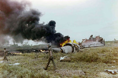 ... SAIGON (April 4, 1975)u2014Smoke Rises From The Wreckage Of A US;  Extricating ...