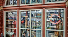 Where's The Cat? (whosoever2) Tags: window birmingham moorstreet coffee shop reflection drs class68 68012 england unitedkingdom uk gb greatbritain sony dscrx100m3 april 2017 railway railroad train