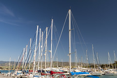 Line of Mast (syf22) Tags: mast cyprus latsi latchi leisurecraft water marina sailing yacht boat sky pillar pole post timber rigging spar sails spars booms