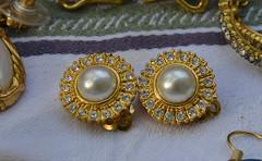 Bug-Eyed (BKHagar *Kim*) Tags: bkhagar jewelry earrings clipon pearls pearl rhinestone rhinestones round