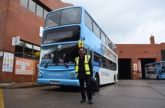 Posing for me - in front of Dennis Trident/Alexander ALX400 4144 (paulburr73) Tags: 4144 posing poser nxc nationalexpress coventry depot garage midlands westmidlands driver busdriver april 2017 easter busdepot bus buses y738toh dennis trident alexander alx400